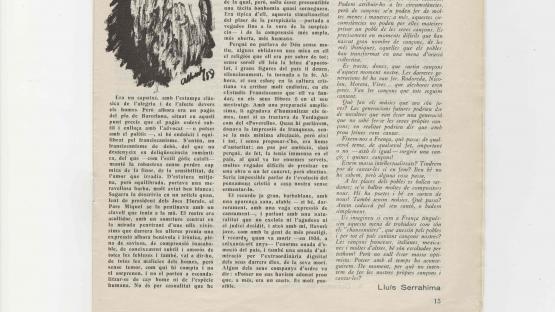 """Revista Germinabit : circular de la Unió Escolania de Montserrat, de gener de 1959. Barcelona : Monestir de Montserrat, 1949-[1967  Hom considera l'article de Lluís Serrahima """"Ens calen cançons d'ara"""" com el detonant del moviment conegut com """"Nova Cançó"""".  AHCB. Hemeroteca. R 1949 4"""
