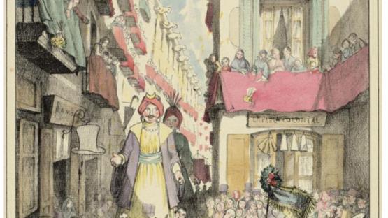 Comparsa amb músics i dansaires obrint pas als gegants pel carrer Montcada. Corpus. Recreació del  1830. AHCB Dibuix L. Anglada  AHCB 11799 (6)