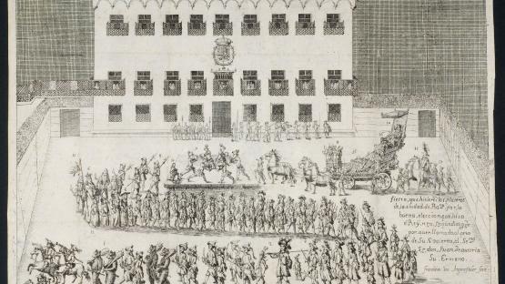 AHCB4-204/C04 -17933  Col·lecció de gravats.  Festa dels argenters davant del Palau Reial amb motiu de l'elecció de Joan d'Àustria com adjunt al govern de Carles II. En primer terme, seguicis i carruatges. Davant del palau, la guàrdia reial (1677)