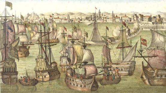 Gravat del 1770 on es representa l'arribada de la flota espanyola al port de Barcelona. Autor: Leizel, Balthasar Frederic