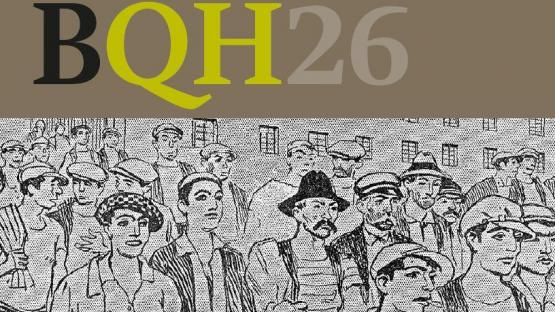 Fragment de la portada  BQH 26. La Rosa de Foc. Obrerisme i moviments sindicals a Barcelona 1909-1936