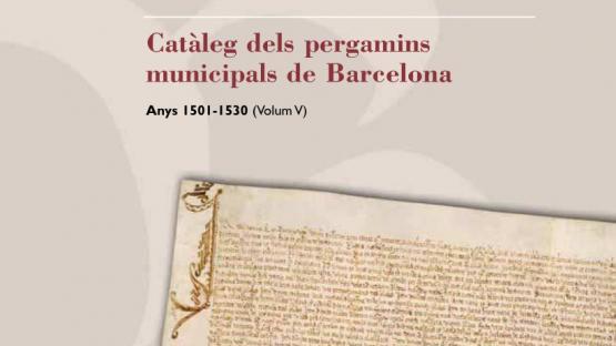 Detall de la portada del nº 5 dels pergamins municipals