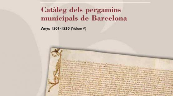 Detalle de la portada del Catàleg número 5 dels pergamins municipals