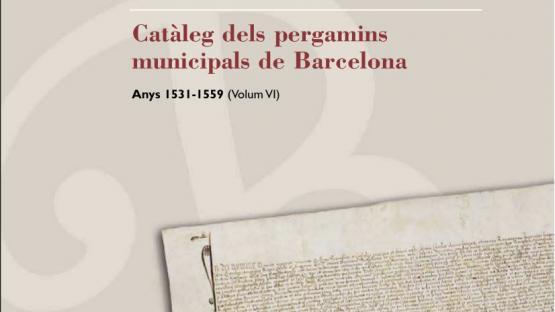 Detalle de la portada del Catàleg número 6 dels pergamins municipals
