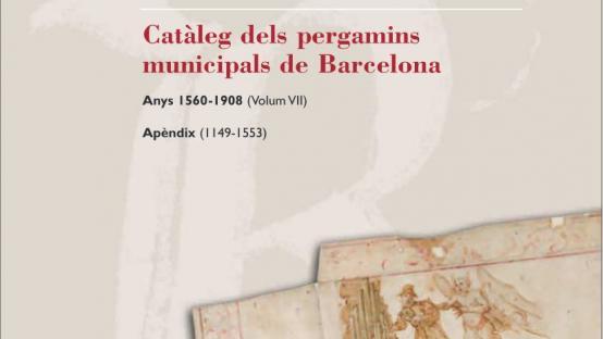 Detall de la portada del Catàleg número 7 dels pergamins municipals