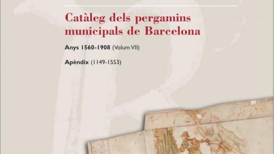 Detalle de la portada del Catàleg número 7 dels pergamins municipals