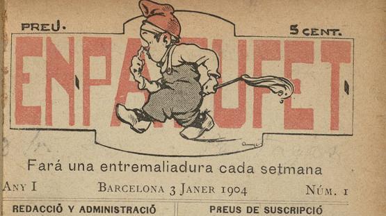 Portada del número 1 de la revista infantil En Patufet, del 3 de gener de 1904