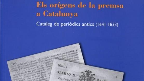 Detall de la portada d'Els orígens de la premsa a Catalunya. Catàleg de periòdics antics (1641-1833)
