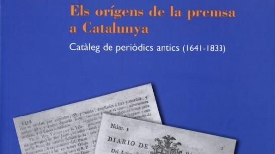 Detalle de la portada de Els orígens de la premsa a Catalunya. Catàleg de periòdics antics (1641-1833)