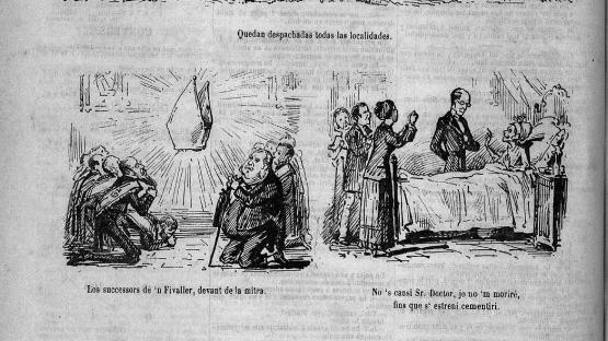 Esquella de la Torratxa, L'. Núm. 27, 2 febrer 1879, pàgina 4. Acudits al voltant de la qüestió del cementiri.