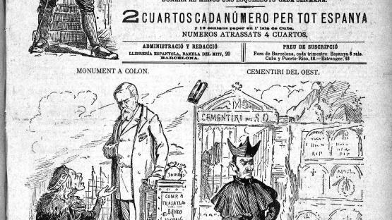 Esquella de la Torratxa, L'. Núm. 256, 8 desembre 1883, pàgina 1. Sàtira sobre el paper de l'alcalde Francesc de P. Rius i Taulet i les autoritats eclesiàstiques respecte el nou cementiri.