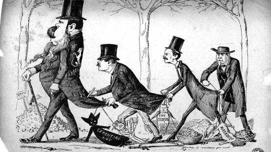 Esquella de la Torratxa, L'. Núm. 259, 29 desembre 1883, pàgina 4. Sàtira sobre les diferents llufes que porten els polítics del moment, amb motiu del dia dels Sants Innocents.