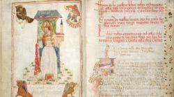 Pàgina il·lustrada amb miniatura, orla i caplletres del Llibre ordinacions del gremi de Blanquers