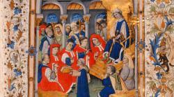 Pàgina il·lustrada amb miniatura, orla i caplletres del Commentaria super Usaticis Barchinone, de Jaume Marquilles, del 1448