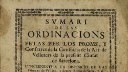 Portada de les ordinacions de la confraria de l'art de velluters, del 1731