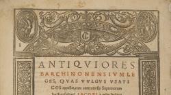 Portada d'Antiquiores Barchinonensium Leges, del 1544