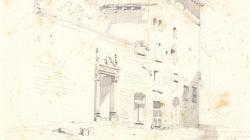 Dibuix de la façana del carrer Santa Llúcia de Jaume Serra Gibert. 1858
