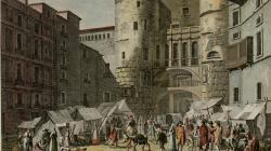 Grabado de la Plaça Nova por Reville et Couché fils. 1806