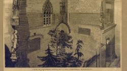 Imatge de la façana gòtica de l'Ajuntament de Barcelona, gravat d'Antoni Castelucho