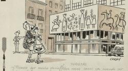 Vinyeta de Cerón representant un turistes davant l'esgrafiat de Picasso en la façana del Col·legi d'Arquitectes de Catalunya