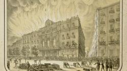 Gravat de l'incendi del Gran Teatre del Liceu el 1861