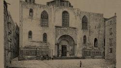 Gravat que representa la façana de Catedral de Barcelona abans de 1890