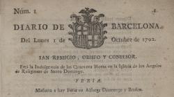 Portada del número 1 del Diari de Barcelona, de l'1 d'octubre de 1792. - AHCB