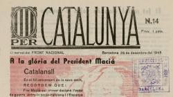Portada del número 14 de la publicación Per Catalunya del 25 de diciembre de 1945 - AHCB