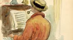 Aquarel·la d'Apel·les Mestres que representa Pau Casals tocant piano