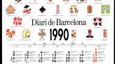 Cartell-calendari: Diari de Barcelona 1990 juliol-setembre. Escuts publicats a la capçalera del Diari de Barcelona (1987-1989). Disseny: Jordi Pernau Mas. El nou Diari de Barcelona va conservar alguns elements clàssics com l'escut de la ciutat a la capçalera, però introduint el canvi diari en el disseny. Els diferents escuts van servir per fer aquests cartells-calendari, obsequi del diari.  AHCB Gràfics Col·lecció de cartells Reg. 16987