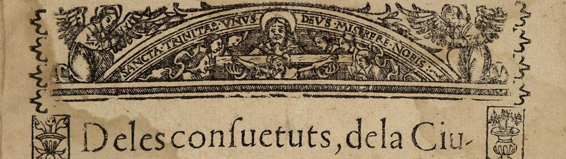 Portada de les consuetuts de la ciutat de Barcelona, 1708