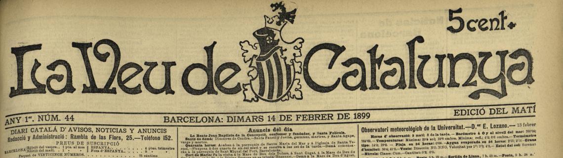 Portada de La Veu de Catalunya de 14 de febrer de 1899