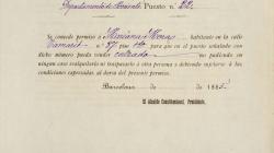 Document del permís a nom de Mariana Mora per vendre calçats a la parada  22 del mercat de Sant Antoni, 1885. AMCB. Fons Ajuntament de Barcelona:  A182 Comissió d'Hisenda, exp. 6837 de 1884.