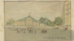 Dibuix d'una perspectiva general del mercat de Sant Antoni. AHCB. Autor: Raimon Duran Reynals. Col·lecció de plànols.