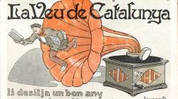 """Cartell de felicitació del nou any de """"La Veu de Catalunya"""". Autor: Jiménez, 1931"""