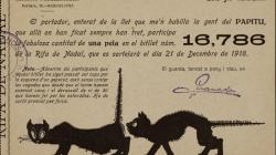 """Butlleta de participació d'una pesseta pel sorteig del 21 de desembre de 1918 per part de la redacció i administració del setmanari humorístic i satíric català """"Papitu"""""""