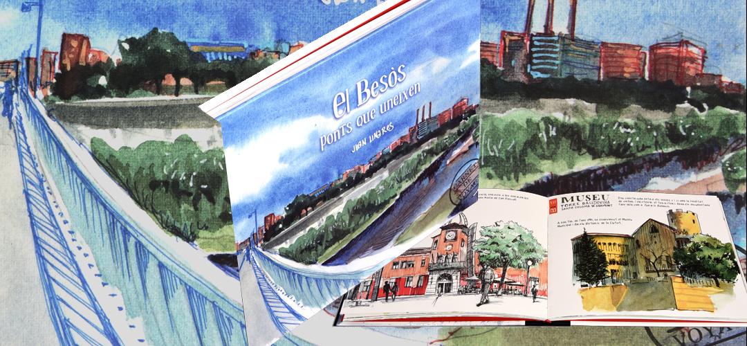 Imatge de la coberta i pàgines del llibre 'El Besòs, ponts que uneixen'