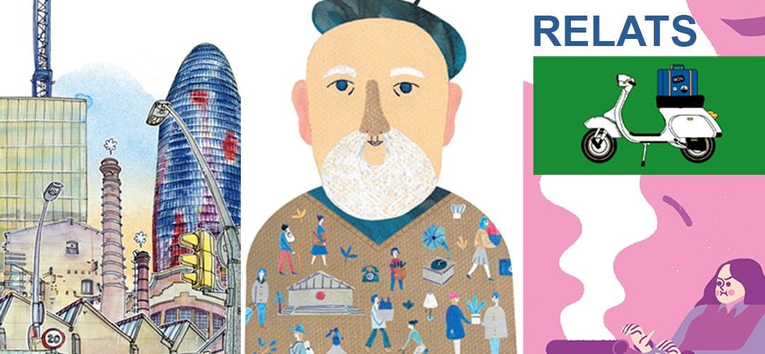 Imatge de diferents dibuixos sobre la ciutat de Barcelona