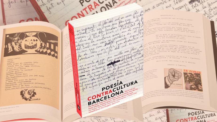 Imatge del llibre 'Poesia, Contracultura, Barcelona' on es veu la coberta del llibre i pàgines interiors