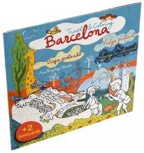 Imatge de la coberta del llibre 'Travel & Coloring Barcelona' d'il·lustració infantil