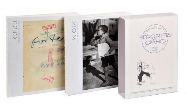 Imatge de les cobertes dels dos volums i de la caixa de l'obra 'Reporters Gràfics'