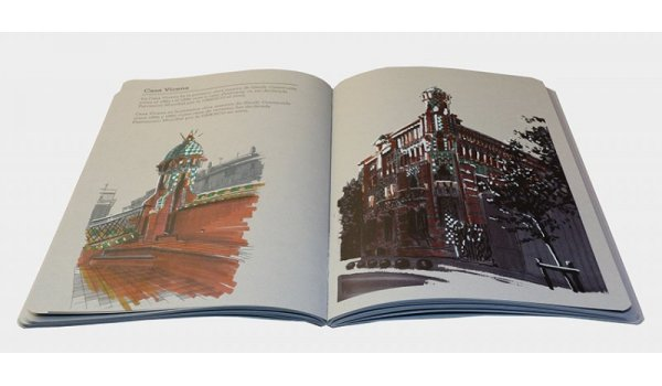 imatge de les pàgines interiors del llibre 'Barcelona colors sobre gris'