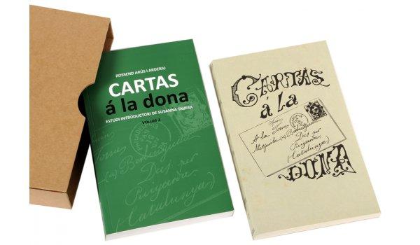 Imatge de la caixa i els dos volums que integren la publicació Cartas á la dona