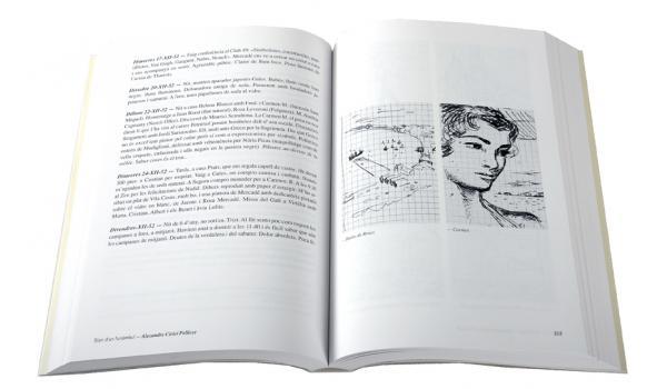 Imatge de pàgines interiors del llibre 'Diari d'un funàmbul' on es veu un dibuix d'una dona fet per Alexandre Cirici en els seus diaris