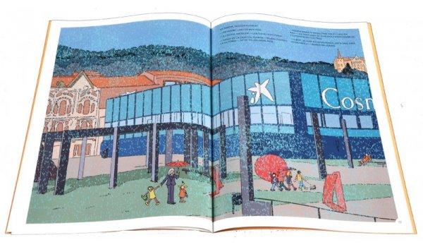 Imatge de les pàgines interiors del llibre 'Els sis a Barcelona. Passejant sota la pluja per Sarrià - Sant Gervasi'