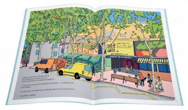 Imatge de les pàgines interiors del llibre 'Los seis en Barcelona. Aventura a Nou Barris'
