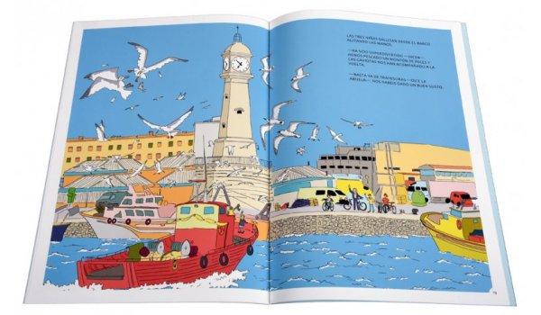 Imatge de les pàgines interiors del llibre 'Los seis en Barcelona. En bicicleta por Ciutat Vella'
