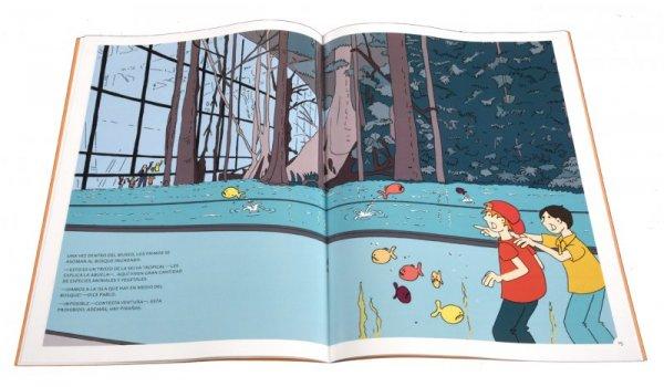 Imatge de les pàgines interiors del llibre 'Los seis en Barcelona. Paseando bajo la lluvia por Sarrià - Sant Gervasi'