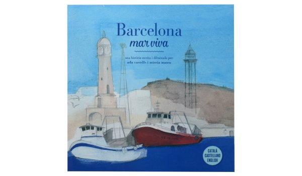 Imatge de la coberta del llibre 'Barcelona mar viva' on es veu un dibuix del port de Barcelona