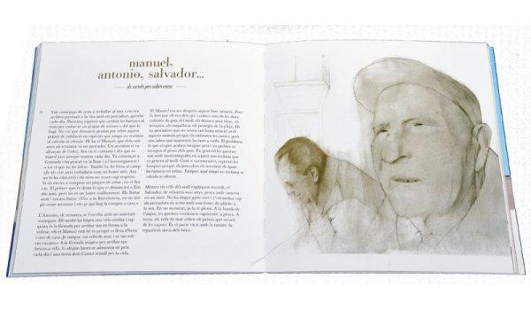 Imatges de les pàgines interiors del llibre 'Barcelona mar viva' amb el dibuix del retrat de pescadors